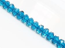 Picture of 5x8 mm, Czech faceted rondelle beads, deep sky blue, transparent