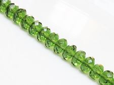 Picture of 5x8 mm, Czech faceted rondelle beads, deep olive green, transparent