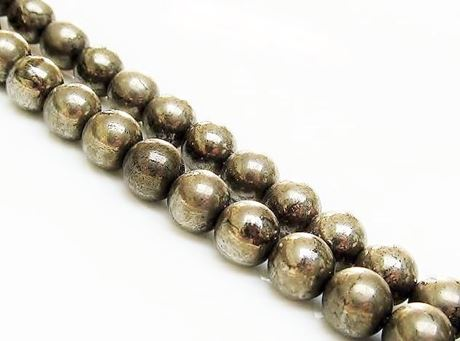 Picture of 8x8 mm, round, gemstone beads, pyrite, A-grade