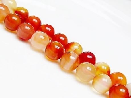 Picture of 10x10 mm, round, gemstone beads, carnelian, natural