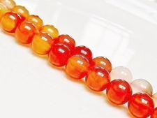 Image de 8x8 mm, perles rondes, pierres gemmes, cornaline, naturelle