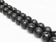 Afbeelding van 10x10 mm, rond, edelsteen kralen, onyx, zwart, mat, glanzend polygoon design