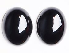 Picture of 10x14 mm, oval, gemstone cabochons, onyx, black