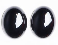 Picture of 18x25 mm, oval, gemstone cabochons, onyx, black