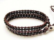 Afbeelding van Wrap armband, edelsteen kralen, onyx, zwart