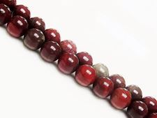 Picture of 8x8 mm, round, gemstone beads, Apple jasper, natural, deep red