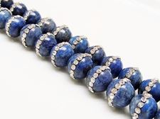 Picture of 10x10 mm, round, gemstone beads, lapis lazuli encrusted with a row of crystals, natural
