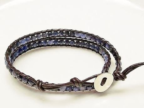 Picture of Wrap bracelet, gemstone beads, sodalite