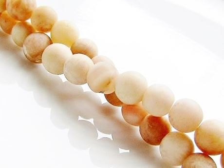 Picture of 6x6 mm, round, gemstone beads, sunstone, yellow, natural, frosted