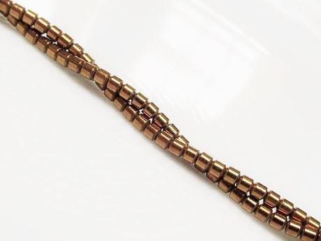 Image de 2x2 mm, perles tubes, pierres gemmes, hématite, métallisée brun roux d'or