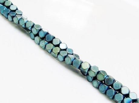 Image de 3x3 mm, perles cubes, pierres gemmes, hématite, métallisée bleu-vert, dépoli