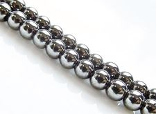 Picture of 4x4 mm, round, gemstone beads, hematite, magnetic, A-grade