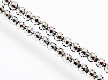 Picture of 4x4 mm, round, gemstone beads, hematite, rhodium metalized