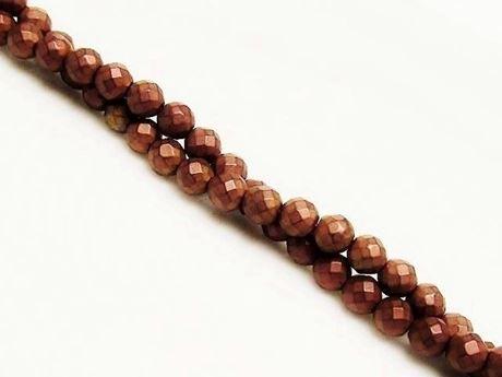 Image de 4x4 mm, perles rondes, pierres gemmes, hématite, métallisée brun rouge, à facettes, dépoli