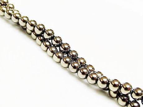 Picture of 4x4 mm, round, gemstone beads, hematite, light golden yellow metalized