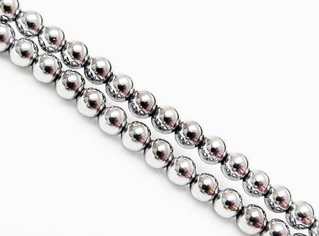 Image de 3x3 mm, perles rondes, pierres gemmes, hématite, métallisée de rhodium