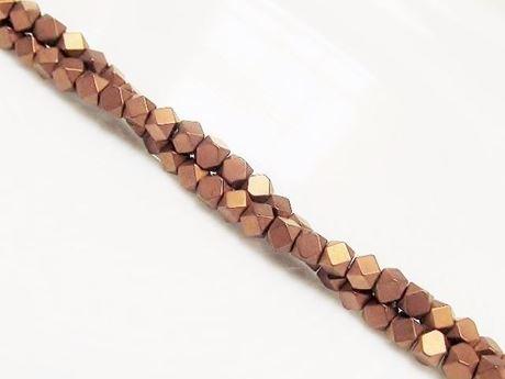 Image de 3x3 mm, perles cubes, pierres gemmes, hématite, métallisée brun roux, dépolie