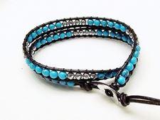 Image de Bracelet wrap en cuir, perles pierres gemmes, turquoise bleue et hématite