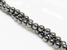 Picture of 6x6 mm, round, gemstone beads, hematite, A-grade