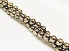 Image de 6x6 mm, perles rondes, pierres gemmes, hématite, métallisée jaune or pâle