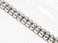 Image de 6x6 mm, perles rondes, pierres gemmes, hématite, magnétique, métallisée rhodium