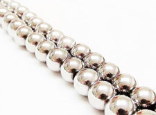 Image de 8x8 mm, perles rondes, pierres gemmes, hématite, magnétique, métallisée rhodium
