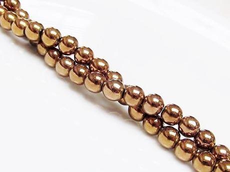 Image de 8x8 mm, perles rondes, pierres gemmes, hématite, métallisée d'or rose
