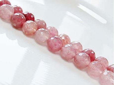 Image de 10x10 mm, perles rondes, pierres gemmes, quartz rubis, naturel, à facettes