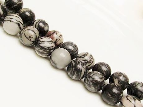 Picture of 12x12 mm, round, gemstone beads, black veined jasper, natural