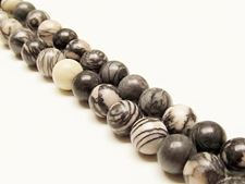 Picture of 10x10 mm, round, gemstone beads, black veined jasper, natural