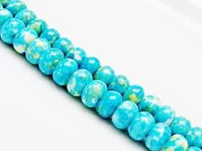 Picture of 5x8 mm, rondelle, gemstone beads, howlite, blue-yellow