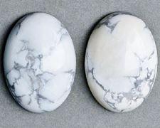 Image de 10x14 mm, ovale, cabochons de pierres gemmes, howlite, blanche, naturelle