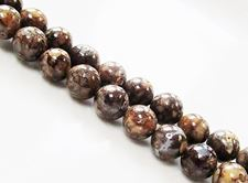 Picture of 8x8 mm, round, gemstone beads, ocean jasper, yellow brown, natural