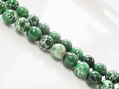 Picture of 8x8 mm, round, gemstone beads, impression jasper, A-grade, emerald green