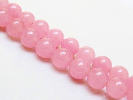 Picture of 10x10 mm, round, gemstone beads, jade, light melon pink, A-grade