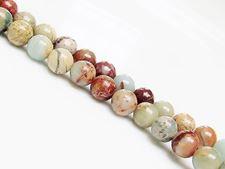 Image de 8x8 mm, perles rondes, pierres gemmes, jaspe impression, naturel