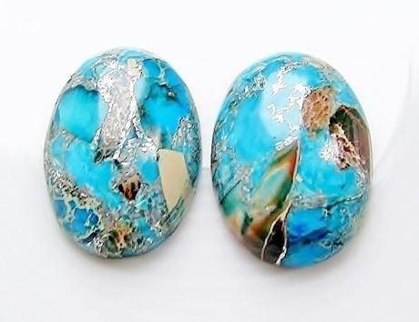 Image de 18x25 mm, ovale, cabochons de pierres gemmes, jaspe impression bleu turquoise et laiton couleur platine