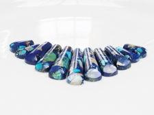 Image de 9x16-10x39 mm, pendentif, pierre gemme, jaspe impression, set bleu, 11 pièces
