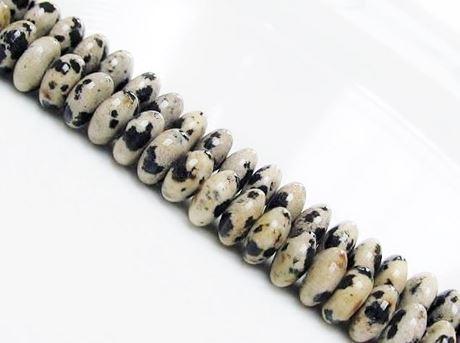 Afbeelding van 4x8 mm, convexe rondellen, edelsteen kralen, Dalmatische jaspis, natuurlijk