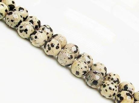 Afbeelding van 8x8 mm, rond, edelsteen kralen, Dalmatische jaspis, natuurlijk, in facetten