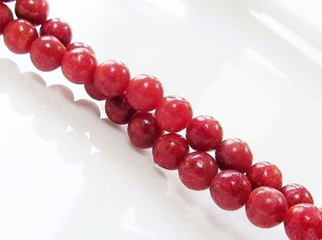 Picture of 6x6 mm, round, organic gemstone beads, sponge coral, red