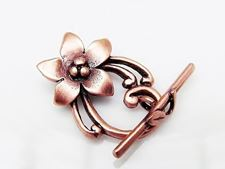 Picture of 19x13 mm, toggle clasp, lily flower, JBB findings, copper-plated brass
