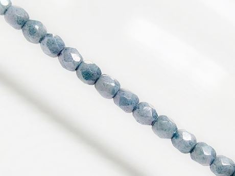 Picture of 3x3 mm, Czech faceted round beads, chalk white, opaque, grey blue luster