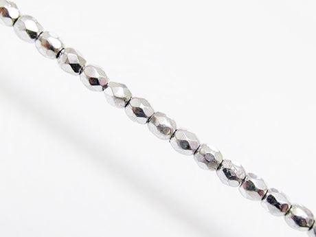 Picture of 3x3 mm, Czech faceted round beads, crystal, transparent, full silver mirror