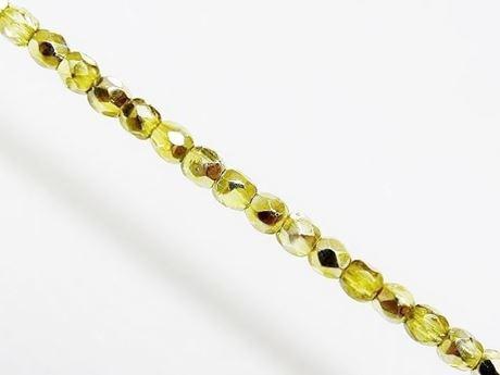 Image de 3x3 mm, perles à facettes tchèques rondes, transparentes, lustrées jaune citron, miroir partiel