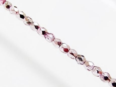 Picture of 3x3 mm, Czech faceted round beads, transparent, lavender pink luster, half tone mirror
