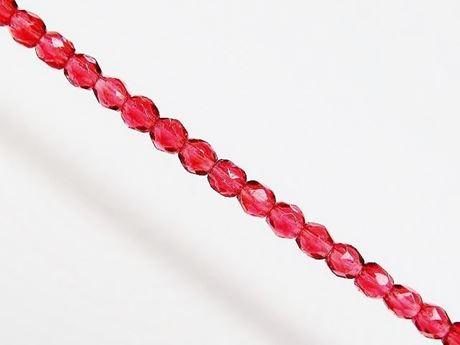 Image de 3x3 mm, perles à facettes tchèques rondes, rouge framboise, transparent