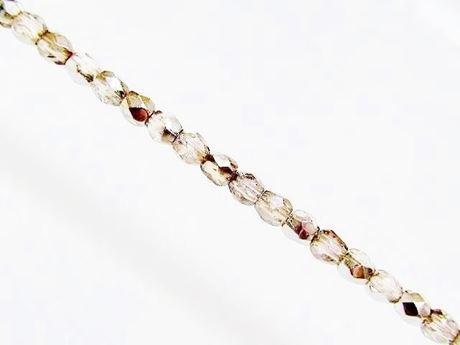Image de 3x3 mm, perles à facettes tchèques rondes, transparentes, lustrées gris fumé, miroir partiel