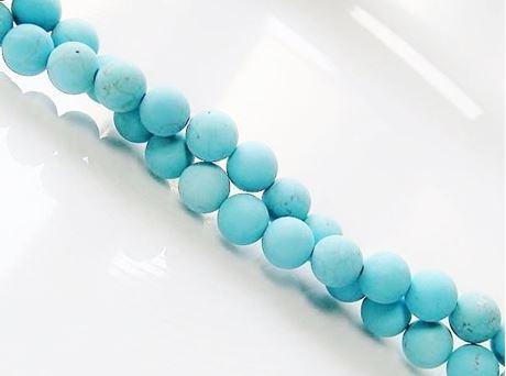 Image de 6x6 mm, perles rondes, pierres gemmes, magnésite, bleu turquoise, dépolie