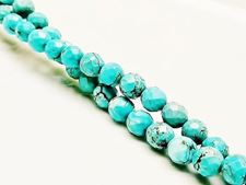 Picture of 6x6 mm, round, gemstone beads, magnesite, turquoise, faceted